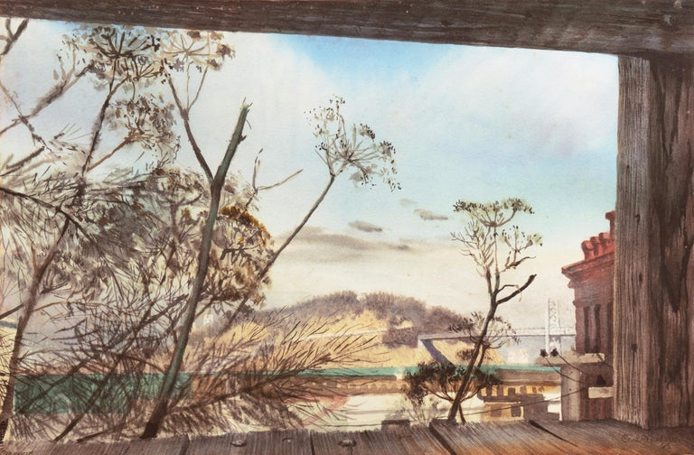 Carl Niederer Landscape Art - 'Yerba Buena from Telegraph Hill', San Francisco, Bay Bridge, California