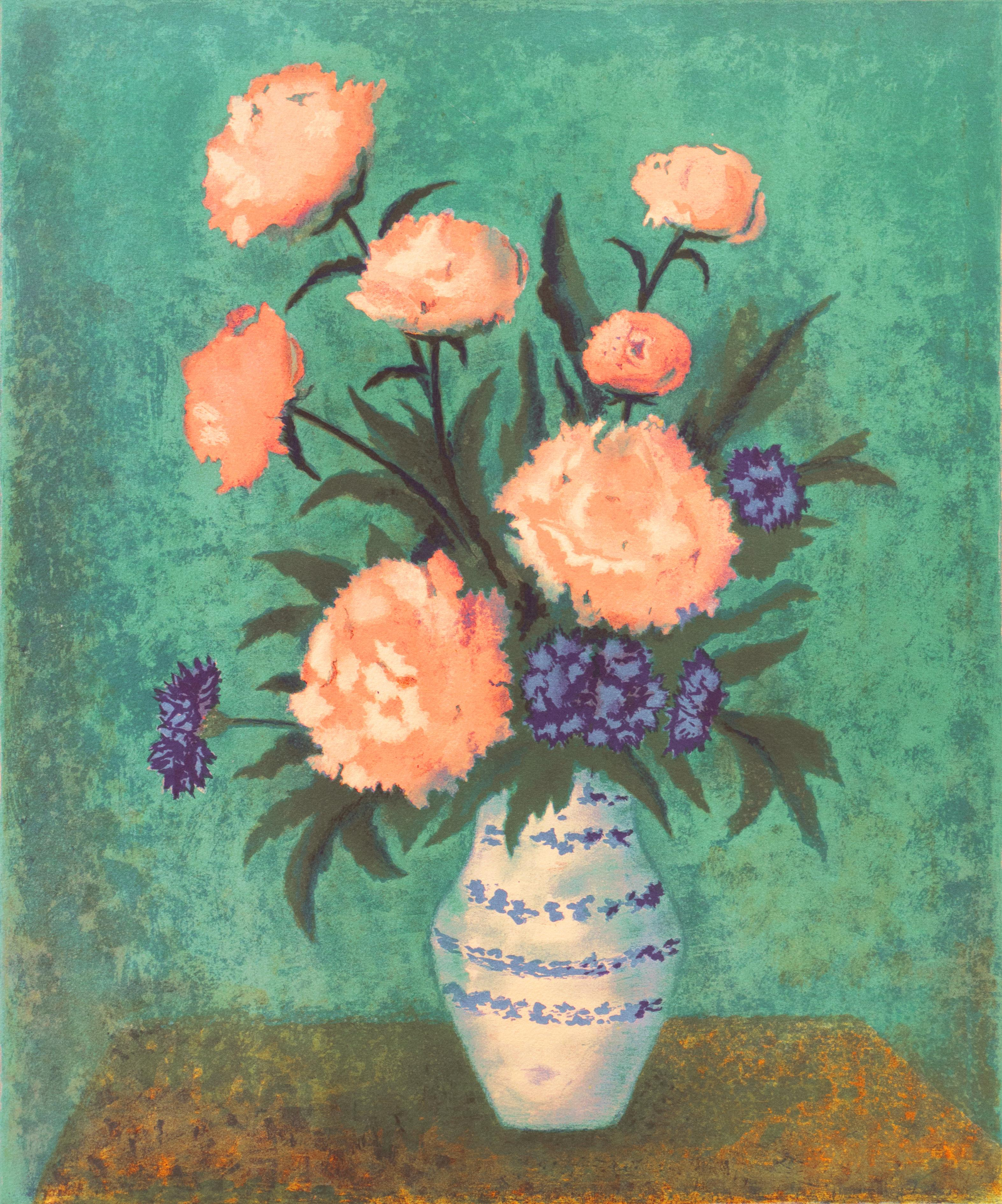 'Dog Roses and Carnations' Modernist Lithograph, Spanish Woman Artist, Barcelona