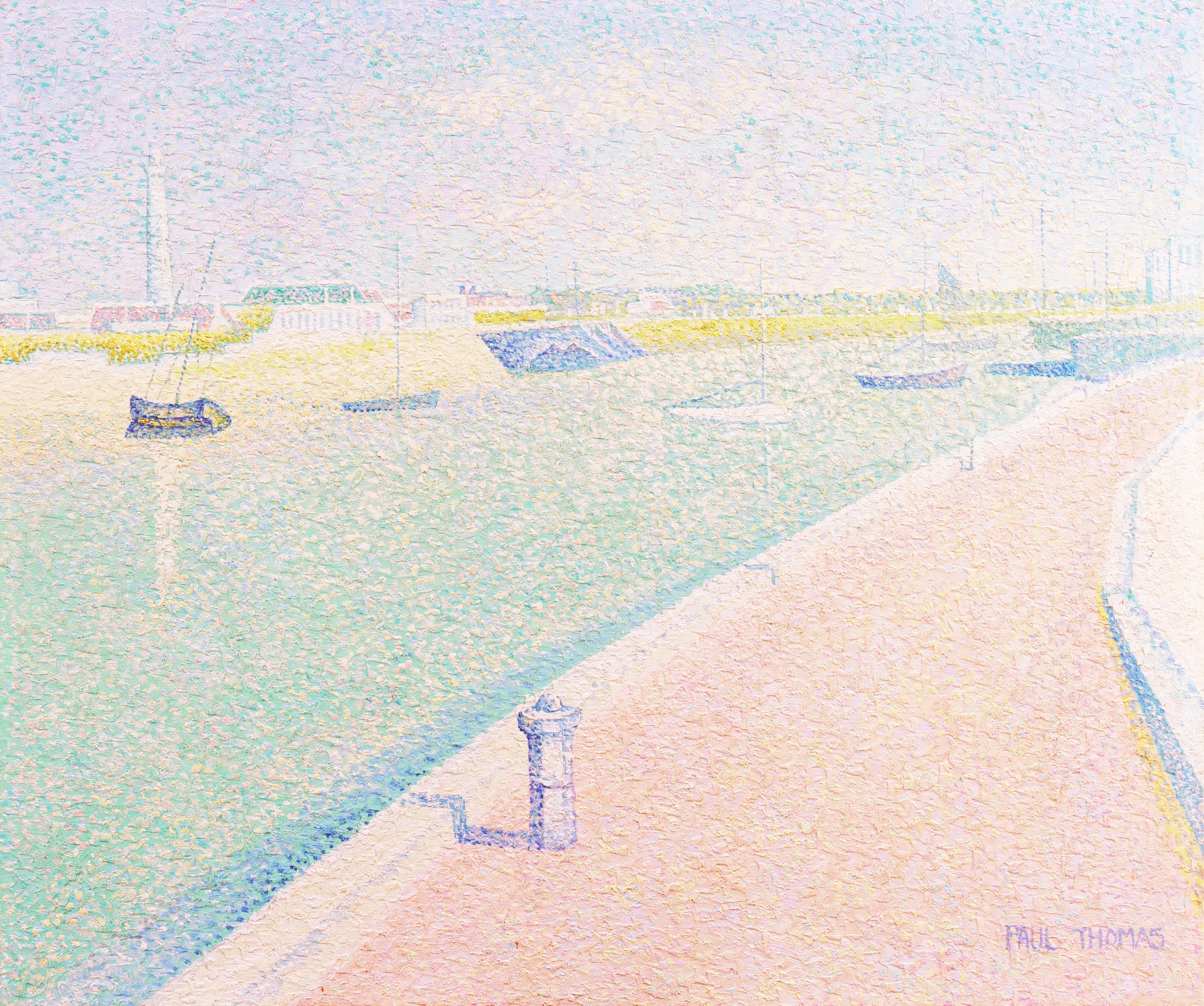 'Le Quai D'Exposition Modern, Bordeaux', French Pointillist Landscape Oil