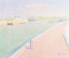 'Le Quai D'Exposition Modern, Bordeaux', French Pointillist Landscape Oil