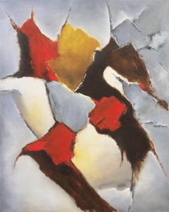 'Abstracted Sunset in Scarlet and Ochre', Early Los Altos California Modernist