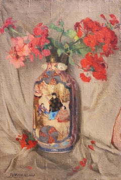 'Geraniums in a Satsuma Vase', Japanese Ceramics, Hungarian oil still life
