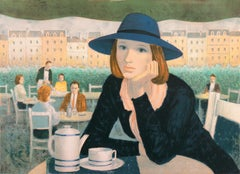 1960's Lithograph, Young Woman Seated at a Spanish Cafe, Woman Artist