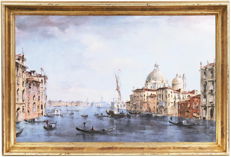 Signed lower right, 'P. G. Pallmann' for Peter Götz Pallmann (German, 1908-1966) and painted circa 1955.   Displayed in a hand-rubbed, water-gilded, swept frame. Framed Dimensions: 21.25 H x 31.25 W x 2 D Inches  A highly detailed, panoramic view of