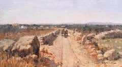 'Landscape outside Bari', Apulian oil, Italian Impressionist, Machiaioli