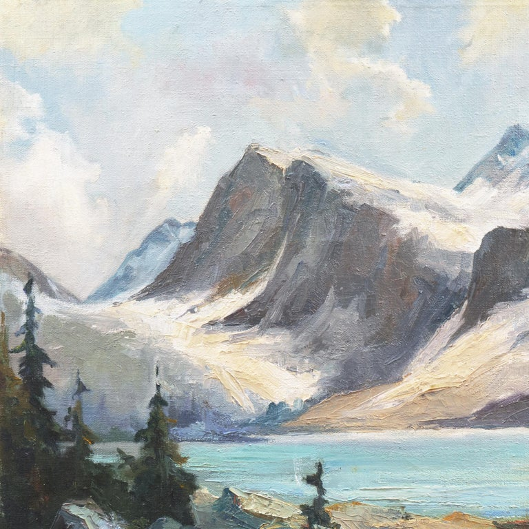 'High Sierras, California', Plein Air Impressionist Oil, AIC, San Francisco - Gray Landscape Painting by Joseph Paul Frey