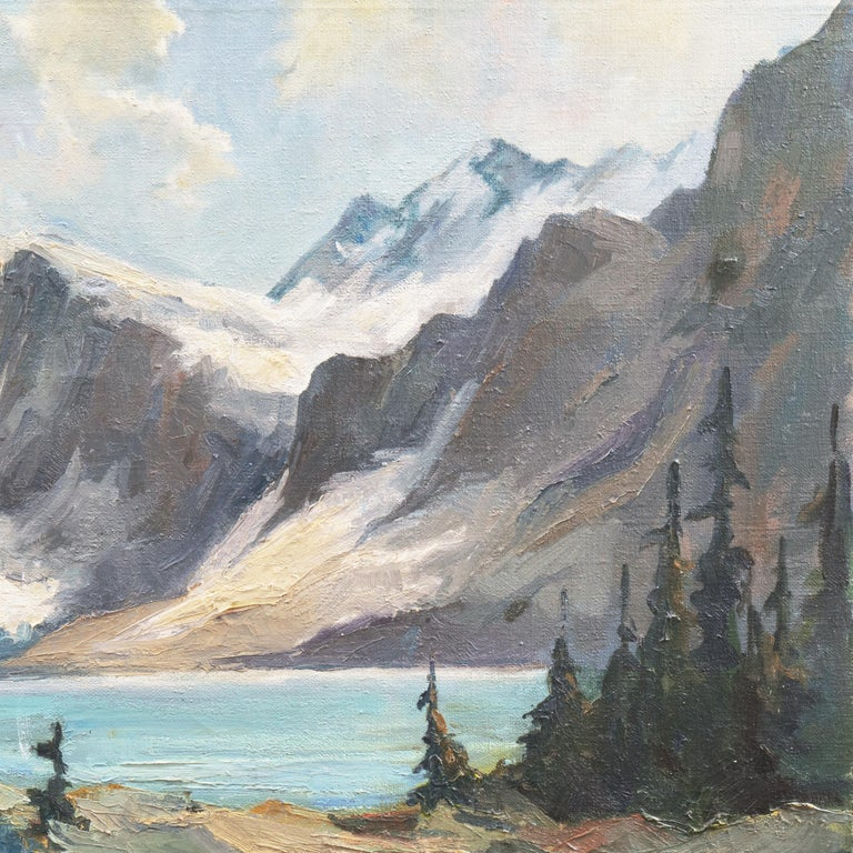 Signed lower left, 'P. Frey' for Joseph Paul Frey (American, 1892-1977) and dated 1962.  A substantial oil landscape showing a view of a lake in California's High Sierras beneath clouded blue skies.  Frey first studied at the Art Institute of