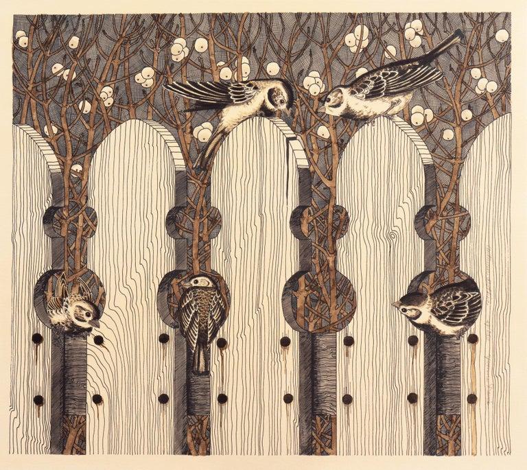 Autumn Gothic    (Passerine, Birdhouse chaffinch, Christmas, ) - Print by Yvonne Davis