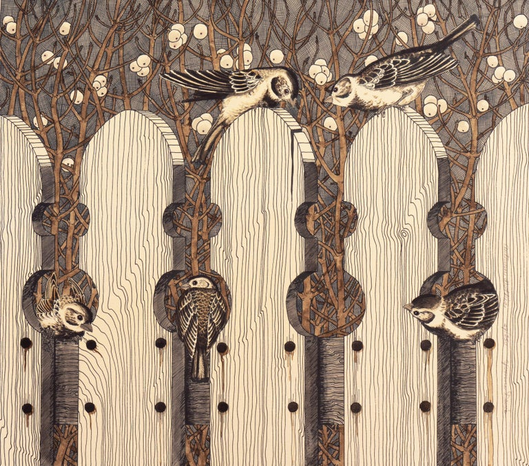 Yvonne Davis Animal Print - Autumn Gothic    (Passerine, Birdhouse chaffinch, Christmas, )