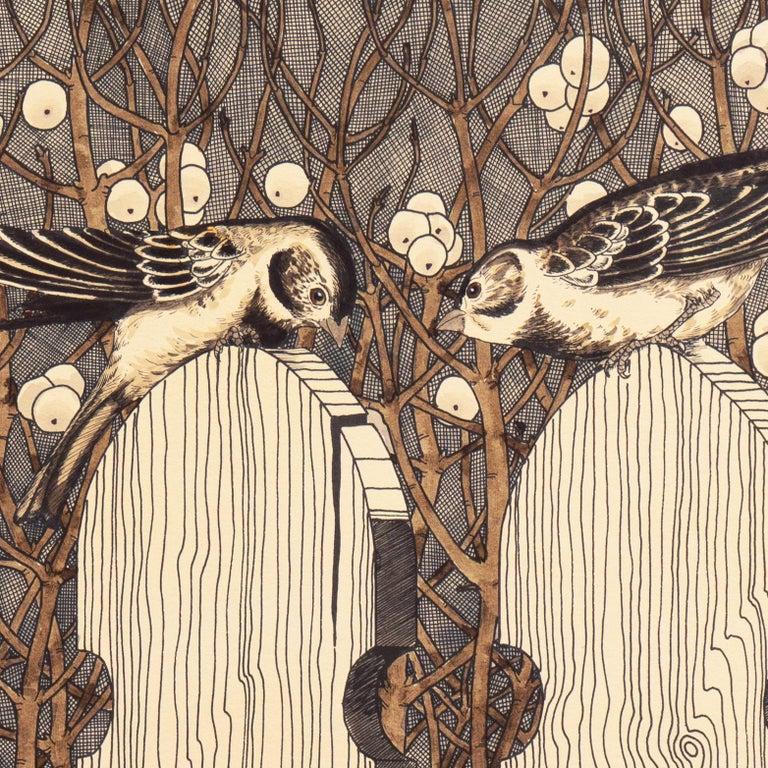 Autumn Gothic    (Passerine, Birdhouse chaffinch, Christmas, ) - Beige Animal Print by Yvonne Davis