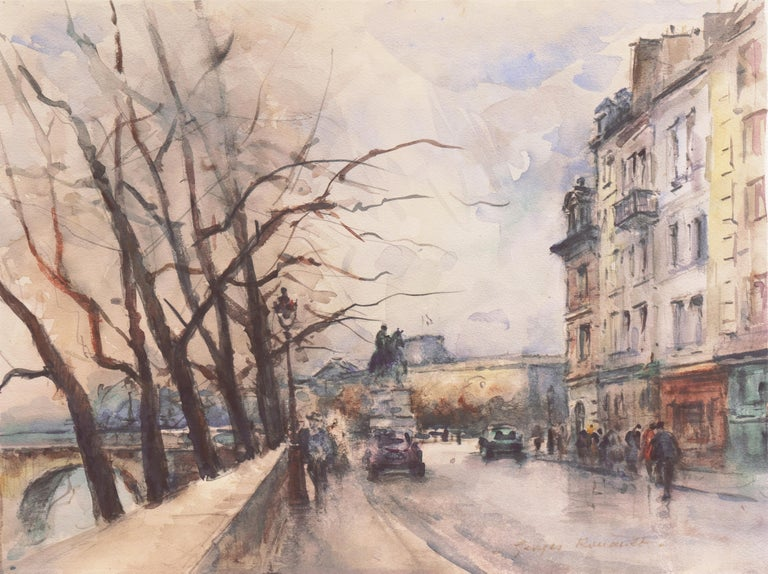 Georges-Dominique Rouault Landscape Art - 'Rainy Day in Paris', Impressionist View of the Seine and the Pont Neuf