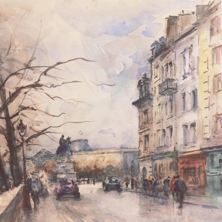 'Rainy Day in Paris', Impressionist View of the Seine and the Pont Neuf - Beige Landscape Art by Georges-Dominique Rouault