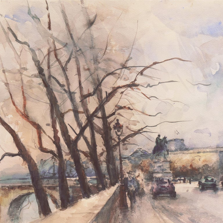 'Rainy Day in Paris', Impressionist View of the Seine and the Pont Neuf For Sale 1
