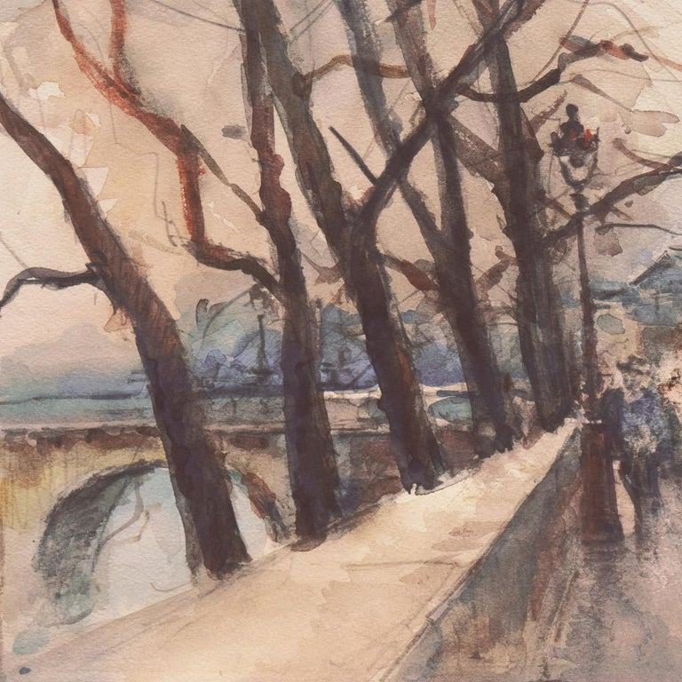 'Rainy Day in Paris', Impressionist View of the Seine and the Pont Neuf For Sale 3