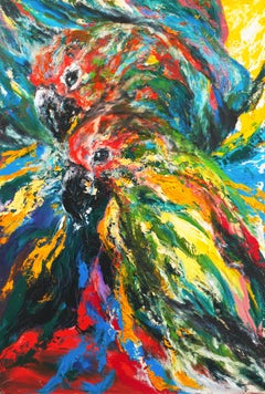 Large, Expressionist Oil of a Pair of Perroquets (Parrots)