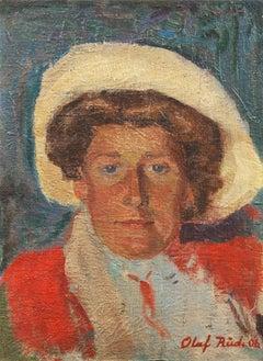 Danish Post Impressionist Portrait of a Woman in a Straw Hat, Paris, Bornholm