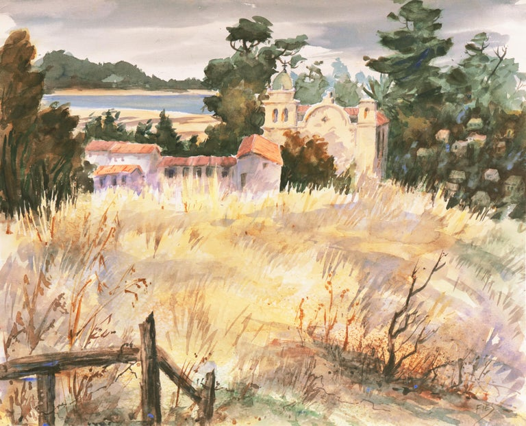 Gladys Louise Bowman Fies Landscape Art - 'Carmel Mission, California', Spanish Jesuit missionary church founded 1797, SWA
