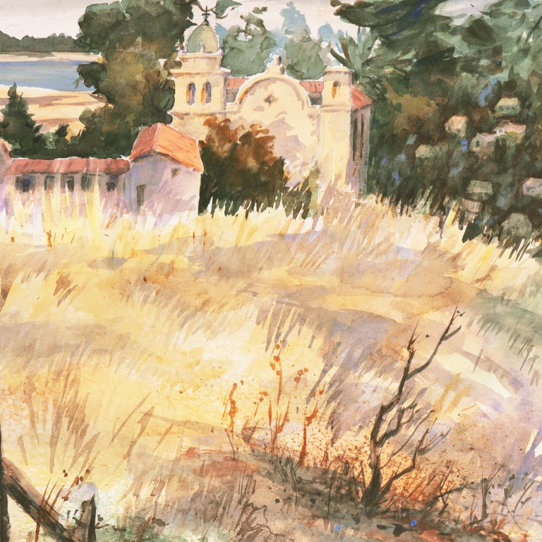 'Carmel Mission, California', Spanish Jesuit missionary church founded 1797, SWA - Beige Landscape Art by Gladys Louise Bowman Fies