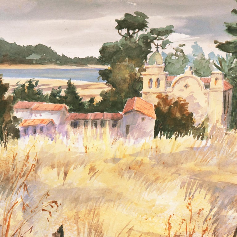 'Carmel Mission, California', Spanish Jesuit missionary church founded 1797, SWA - Impressionist Art by Gladys Louise Bowman Fies