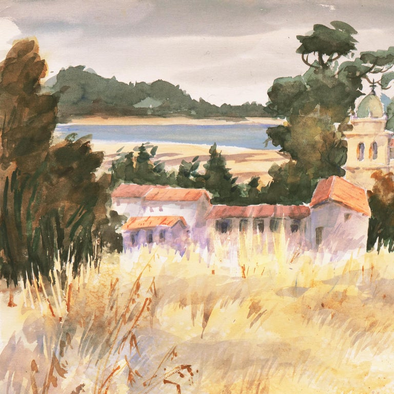 Signed lower right 'Fies', (American, 1909-2005) and painted circa 1960; additionally inscribed verso with title, 'Carmel Mission'.  A fresh and loosely painted watercolor view of the original Spanish colonial church and mission buildings at Carmel