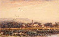 Cattle Pasturing by a River (English Watercolor, David Cox, Village Spire )