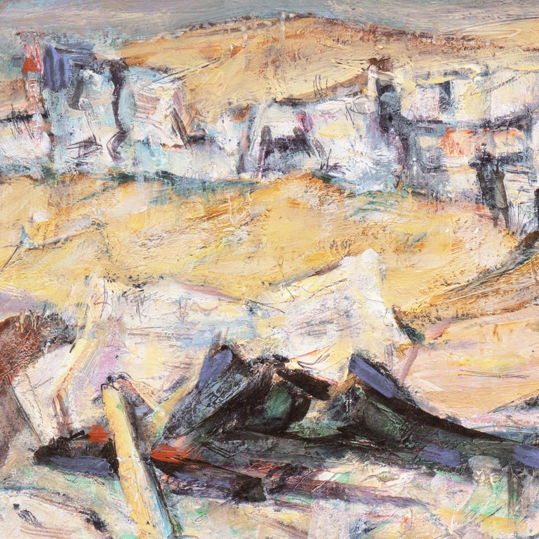 Signed lower right, 'Martin Baer' and dated 1958; additionally signed verso and dated June 1958.  A lyrical modernist oil showing a view of of the California peak painted with intuitive brushwork and a subtle, graduated palette.  Martin Baer first
