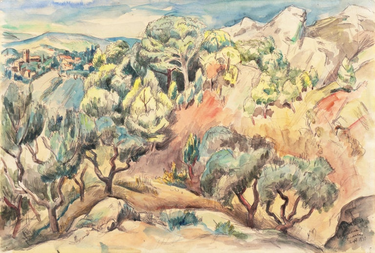 Signed lower right, 'Martin Baer', titled, 'Maussane, France' and dated September 1930.  An intimate modernist landscape showing a view of Maussane-les-Alpilles in the Provence-Alpes-Cote d'Azur region in southern France. A panoramic view across the