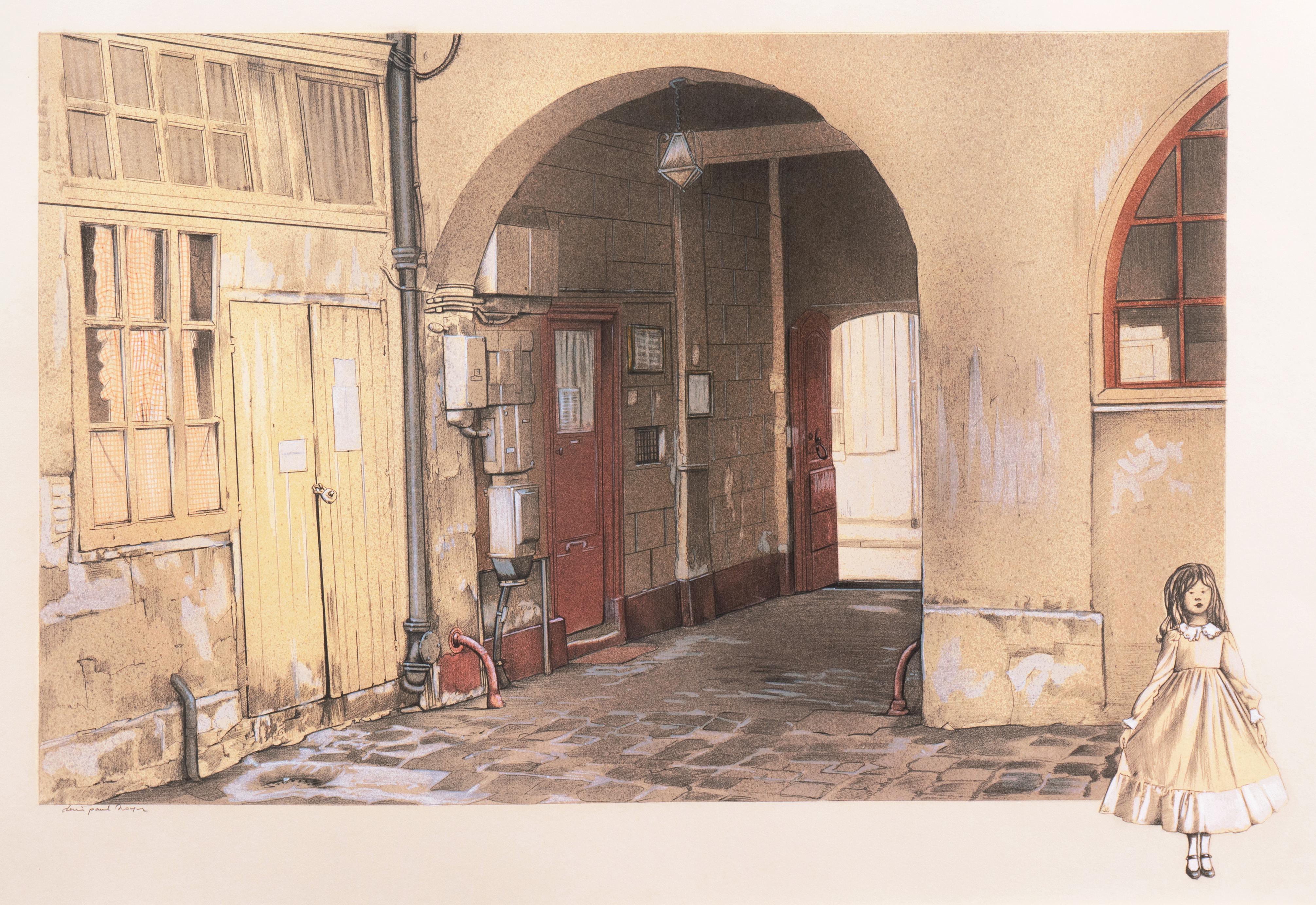 'French Courtyard', Large School of Paris Drawing, Ecole des Beaux Arts, Lyon