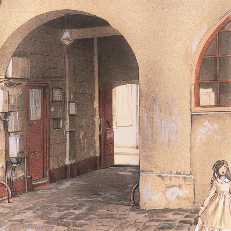 Large School of Paris Drawing of a French Courtyard - Beige Figurative Art by Denis Paul Noyer