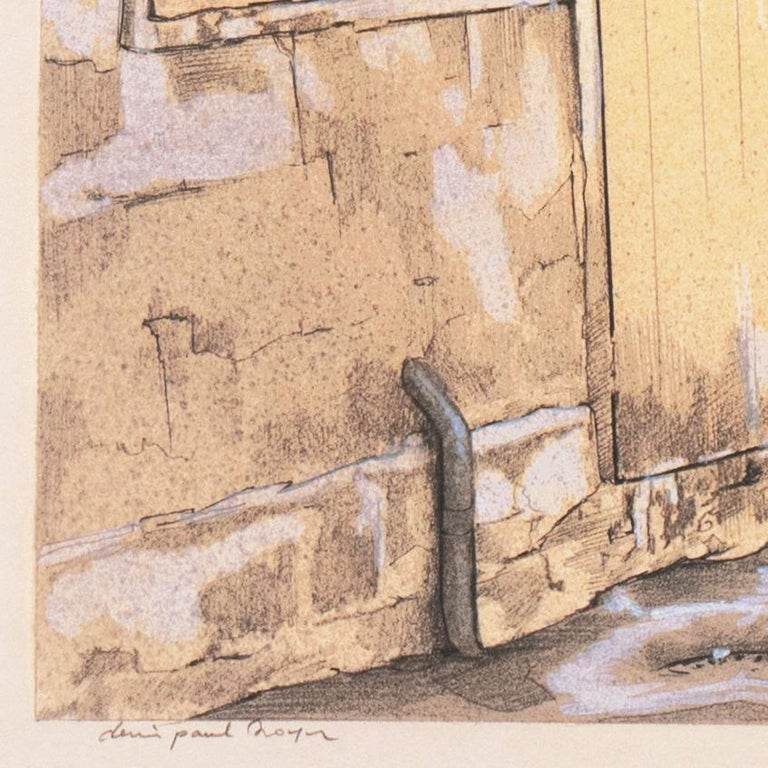 Large School of Paris Drawing of a French Courtyard - Art by Denis Paul Noyer