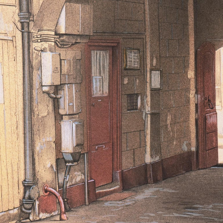 Large School of Paris Drawing of a French Courtyard For Sale 3
