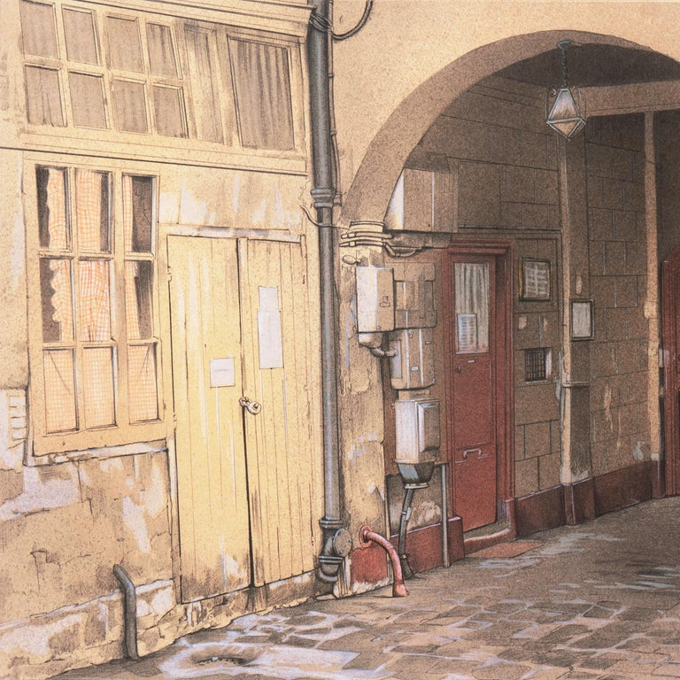 Large School of Paris Drawing of a French Courtyard For Sale 2