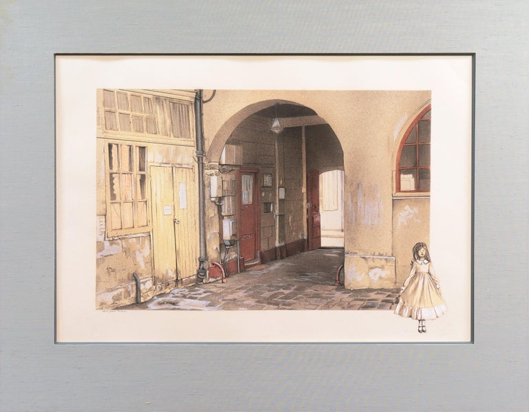 Large School of Paris Drawing of a French Courtyard For Sale 4