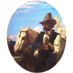'Gaucho with a White Horse', Uruguay, Argentina Pampas Cowboy, Equestrian oil