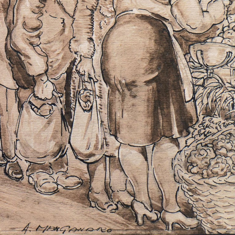 'The Enduring Attractions of the Open Market', Capitalism Satire - Beige Figurative Art by Antonio Manganaro