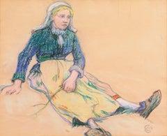 'La Ramasseuse de Varech', Brittany, Young Bretonne Kelp Gatherer, Paul Gauguin