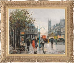 'Paris in the Rain' Large Post-Impressionist oil, French School