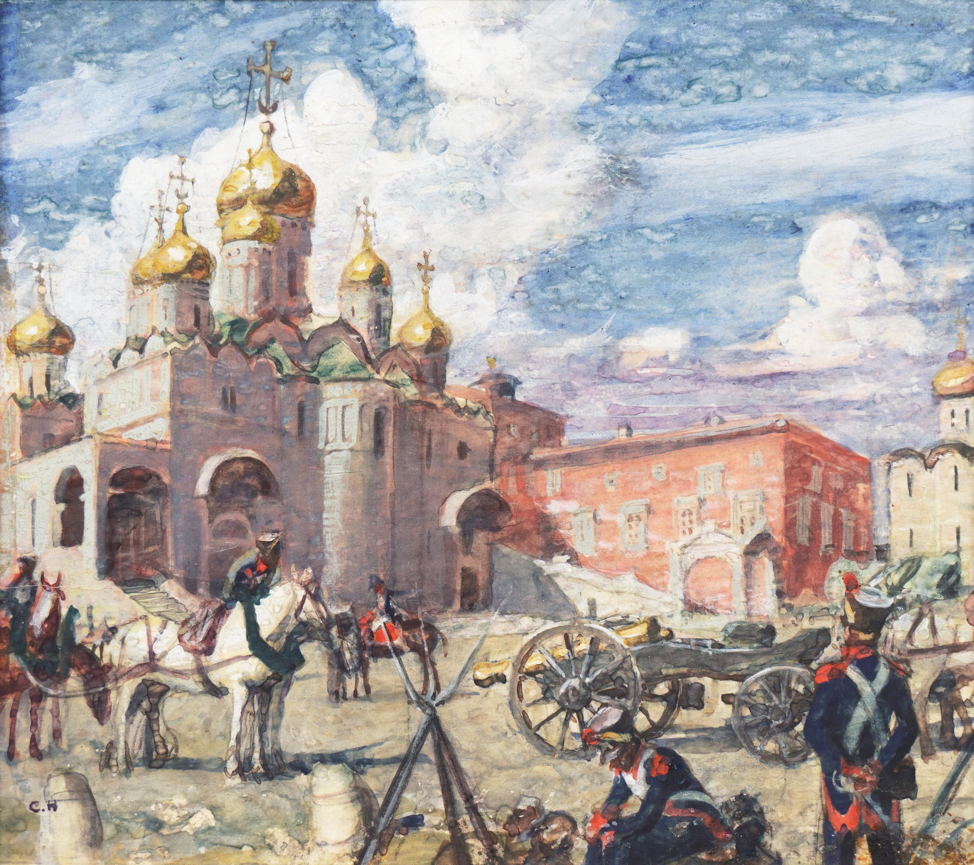 'Napoleonic Guard at the Cathedral of Uspensky Sobor', Moscow, French Militaria