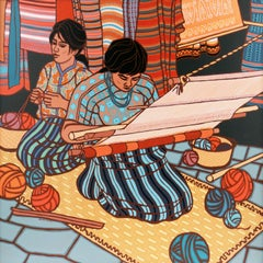 'Weavers of San Juan', Large Modernist Figural by California Woman Artist