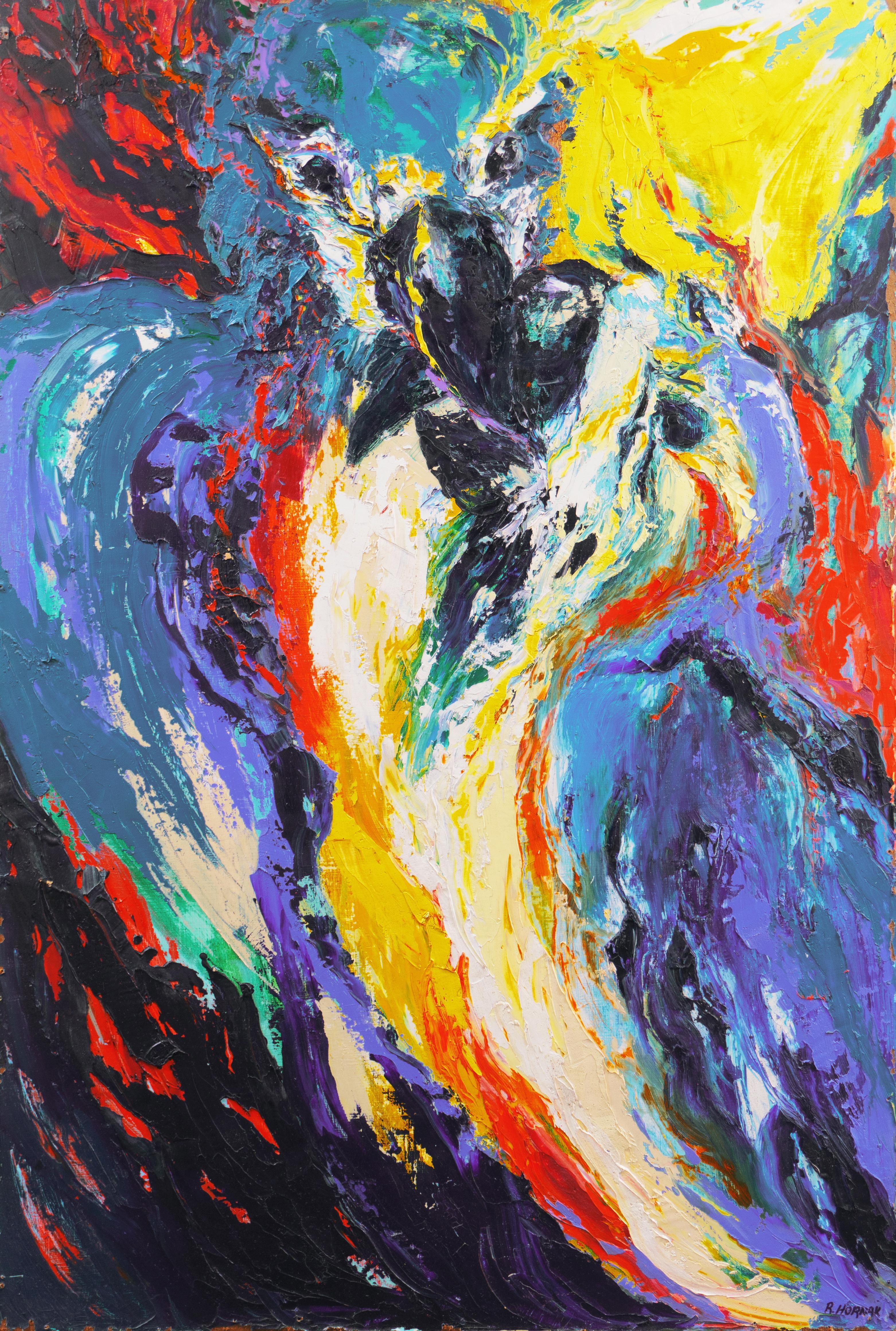 'Pair of Perroquets', Large, Expressionist Oil, Parrots, Detroit Woman artist