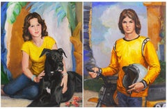 'Brother and Sister', Pair of Oil Portraits, Period 1970's fashion, Great Dane