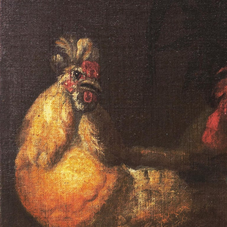 'Cock Fight', 17th Century French School - Painting by Unknown