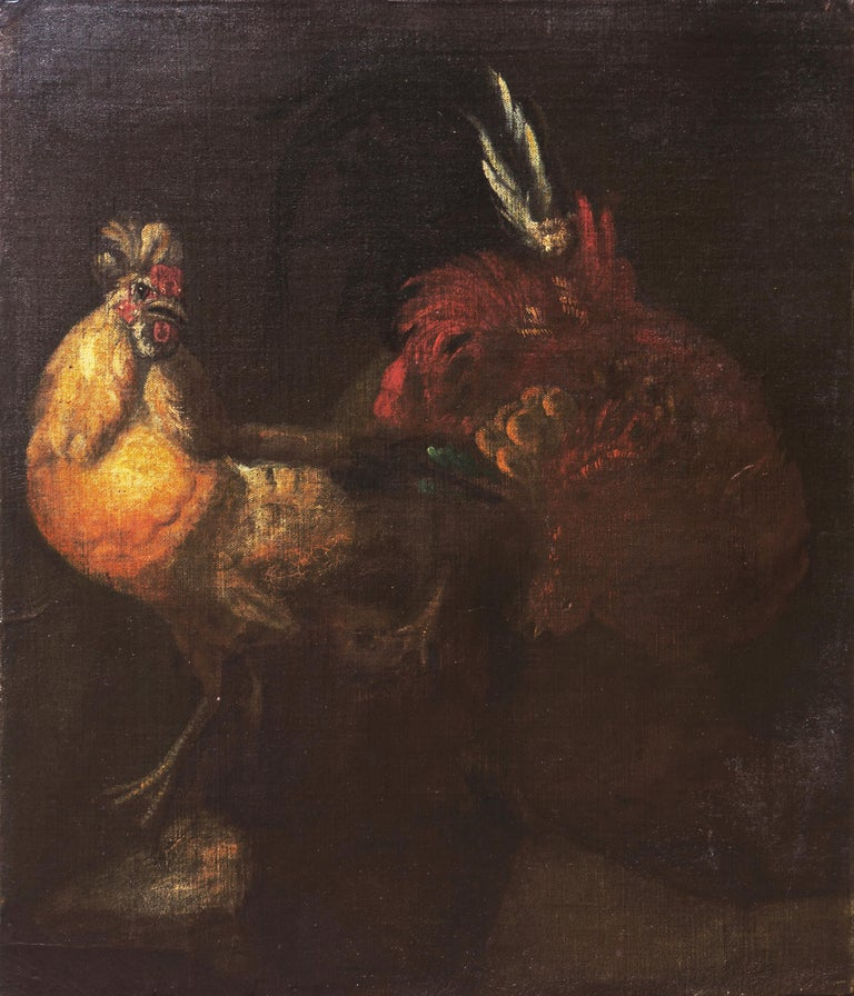 'Cock Fight', 17th Century French School - Black Animal Painting by Unknown