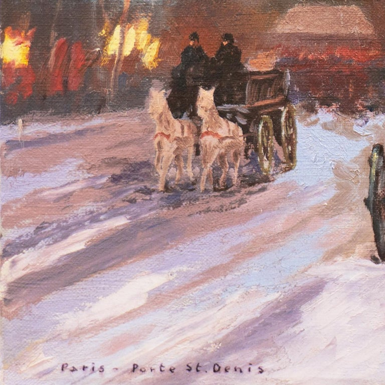 Signed lower right, 'A. Degen' (French, 20th century), titled lower left, 'Paris - Porte St. Denis' and painted circa 1960.  A jewel-like oil painting of this Parisian landmark showing shoppers and pedestrians walking in the snowy sidewalks by the