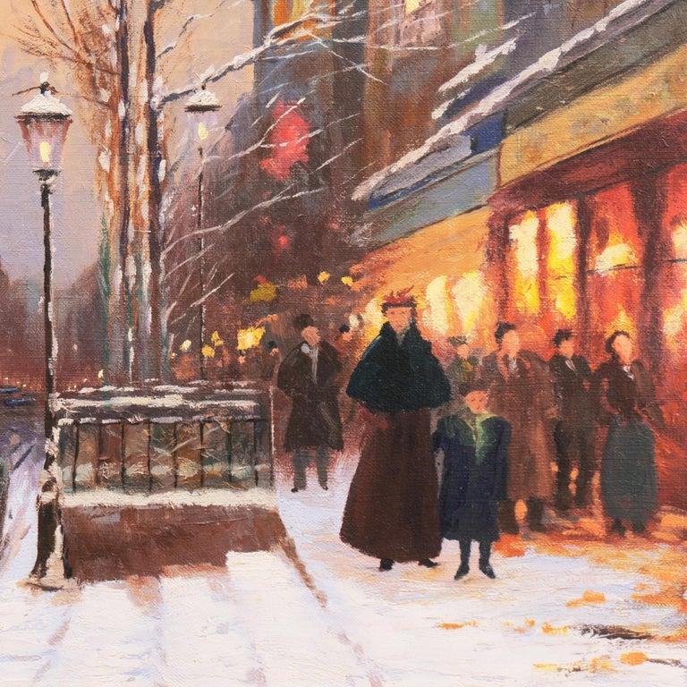 'Porte St. Denis, Paris', Rue du Faubourg, Impressionist Winter Snow Scene oil For Sale 3