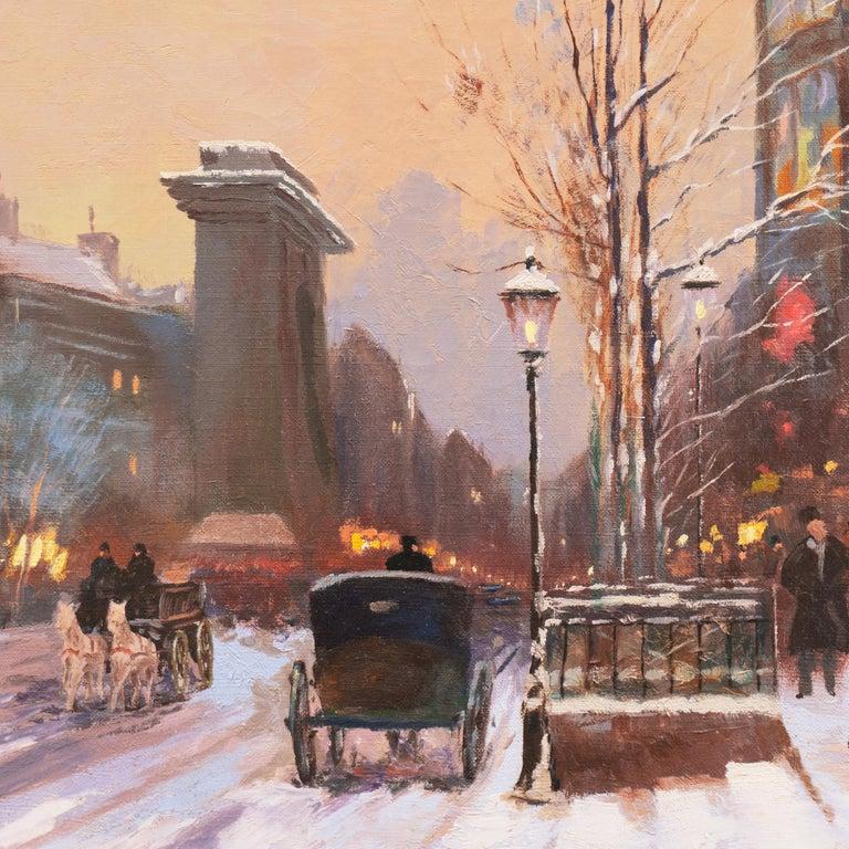 'Porte St. Denis, Paris', Rue du Faubourg, Impressionist Winter Snow Scene oil For Sale 4