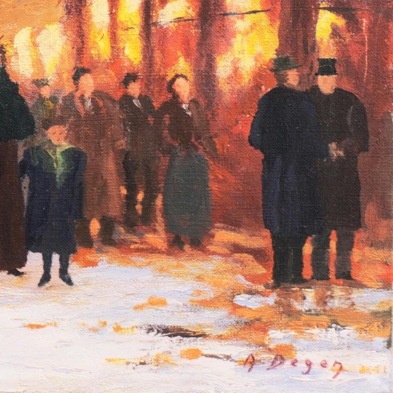 'Porte St. Denis, Paris', Rue du Faubourg, Impressionist Winter Snow Scene oil - Painting by A. Degen