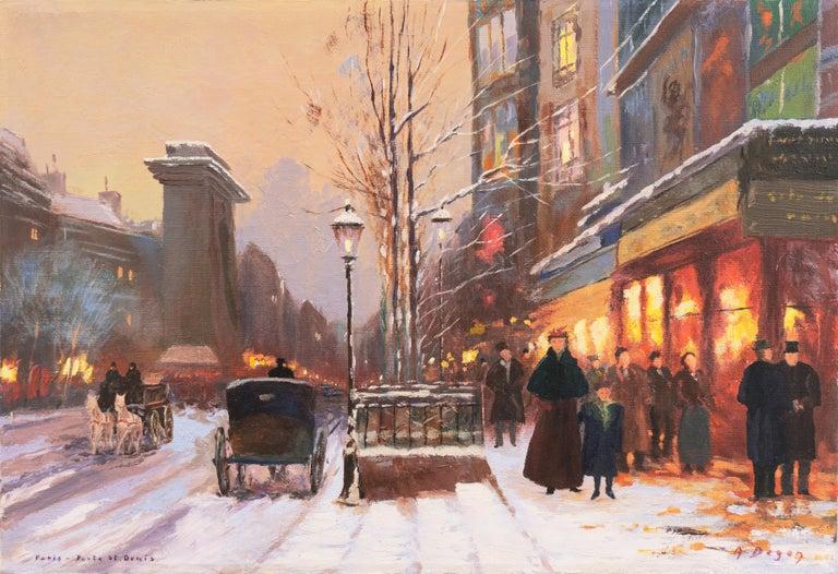 A. Degen Landscape Painting - 'Porte St. Denis, Paris', Rue du Faubourg, Impressionist Winter Snow Scene oil