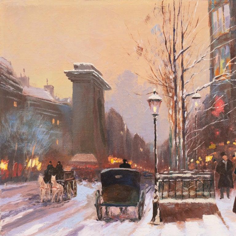 'Porte St. Denis, Paris', Rue du Faubourg, Impressionist Winter Snow Scene oil For Sale 1