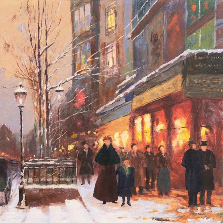 'Porte St. Denis, Paris', Rue du Faubourg, Impressionist Winter Snow Scene oil For Sale 2